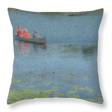 Canoes On Shovelshop Pond Throw Pillow