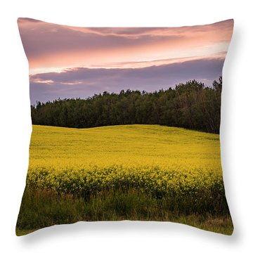 Throw Pillow featuring the photograph Canola Crop Sunset by Darcy Michaelchuk