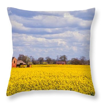 Canola Field Throw Pillow by John Edwards