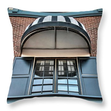 Throw Pillow featuring the photograph Canopy And Reflection In Window by Gary Slawsky