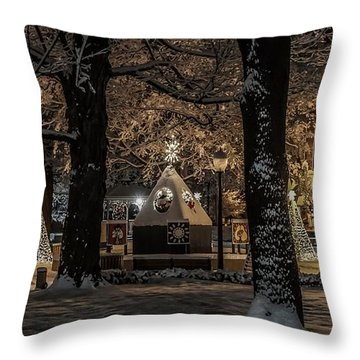 Canopy Of Christmas Lights Throw Pillow