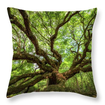 Canopy Of Color At Angel Oak Tree  Throw Pillow