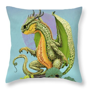 Throw Pillow featuring the digital art Cantaloupe Dragon by Stanley Morrison