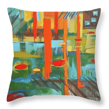Throw Pillow featuring the painting Cantaloupe Island by Erin Fickert-Rowland
