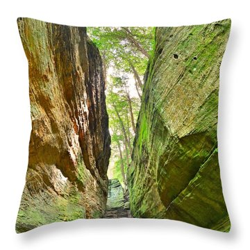 Cantwell Cliffs Trail Hocking Hills Ohio Throw Pillow