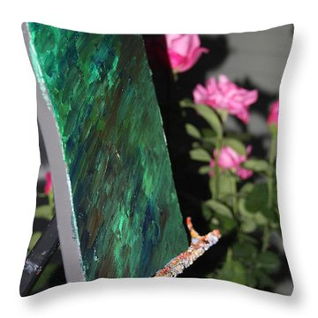 Throw Pillow featuring the photograph Canvas And Roses by Vadim Levin