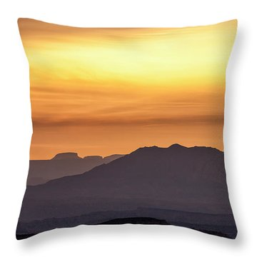Canyon Layers With Fiery Sunrise Throw Pillow