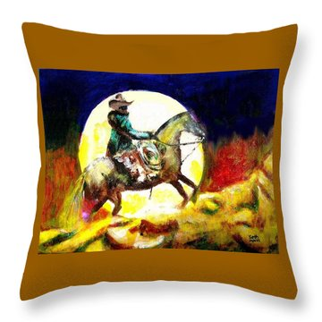 Throw Pillow featuring the painting Canyon Moon by Seth Weaver