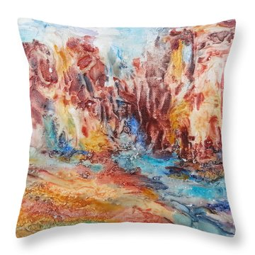Canyon Mouth Throw Pillow by Becky Chappell
