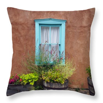 Throw Pillow featuring the photograph Canyon Road Blue Santa Fe by Kurt Van Wagner