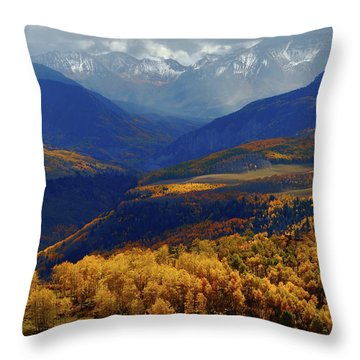Canyon Shadows And Light From Last Dollar Road In Colorado During Autumn Throw Pillow by Jetson Nguyen