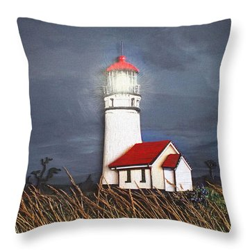 Throw Pillow featuring the relief Cape Blanco Glow by Wendy McKennon