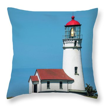 Cape Blanco Lighthouse At Cape Blanco, Oregon Throw Pillow