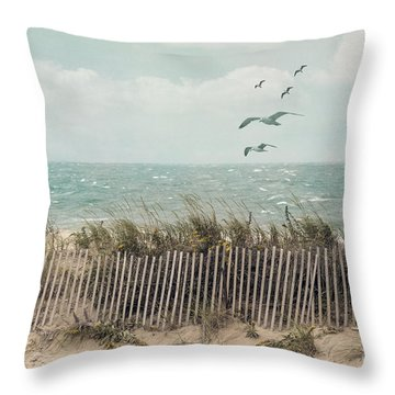 Cape Cod Beach Scene Throw Pillow