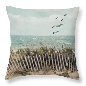 Cape Cod Beach Scene Throw Pillow