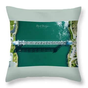 Throw Pillow featuring the photograph Cape Cod Canal Railroad Bridge by Michael Hughes