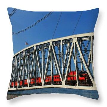 Cape Cod Canal Railroad Bridge Train Throw Pillow