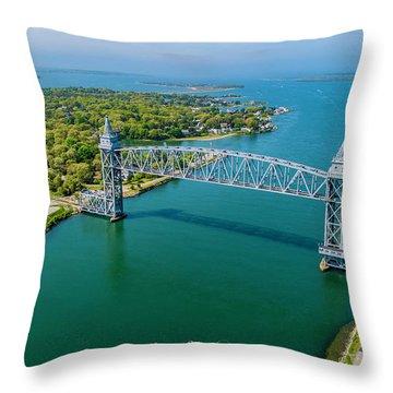 Cape Cod Canal Railroad Throw Pillow