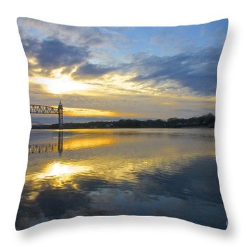 Cape Cod Canal Sunrise Throw Pillow