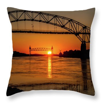 Cape Cod Canal Sunset Throw Pillow