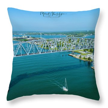 Cape Cod Canal Suspension Bridge Throw Pillow