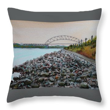 Cape Cod Canal To The Bourne Bridge Throw Pillow