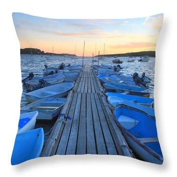 Cape Cod Harbor Boats Throw Pillow by John Burk