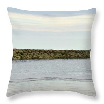 Cape Cod Jetty Sundown Throw Pillow