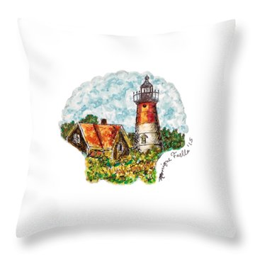 Throw Pillow featuring the painting Cape Cod Lighthouse by Monique Faella