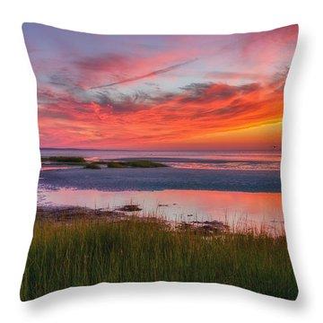 Cape Cod Skaket Beach Sunset Throw Pillow