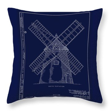 Throw Pillow featuring the photograph Historic Cape Cod Windmill Blueprint by John Stephens