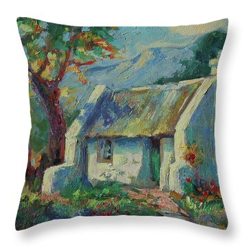 Cape Cottage With Mountains Art Bertram Poole Throw Pillow
