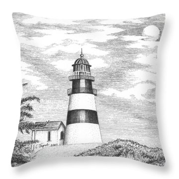Cape Disappointment Lighthouse Throw Pillow by Lawrence Tripoli