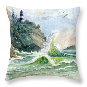 Throw Pillow featuring the painting Cape Disappointment Lighthouse by Marilyn Smith