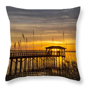Cape Fear Sunset Fort Fisher Throw Pillow