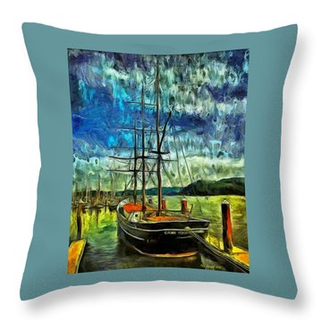 Throw Pillow featuring the photograph Cape Foulweather Tall Ship by Thom Zehrfeld