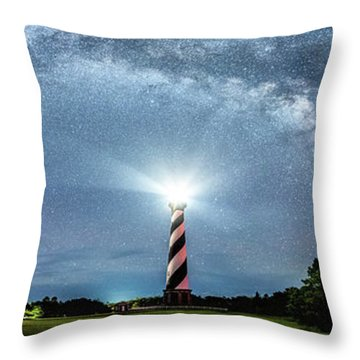 Cape Hatteras Light House Milky Way Panoramic Throw Pillow