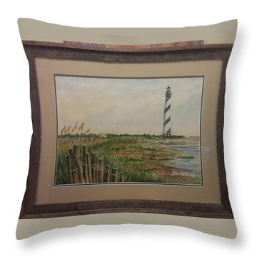 Throw Pillow featuring the painting Cape Hatteras Light House by Richard Benson