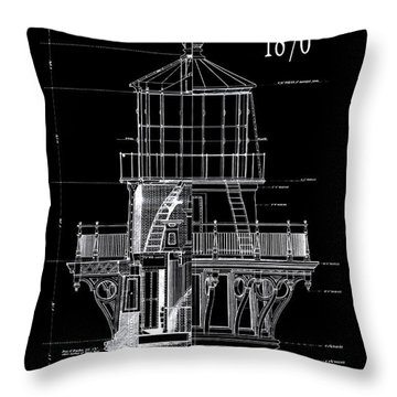 Cape Hatteras Lighthouse Engineering Drawing 1869 Throw Pillow