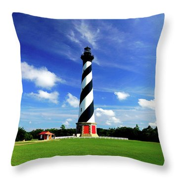 Throw Pillow featuring the photograph Cape Hatteras Lighthouse by Meta Gatschenberger
