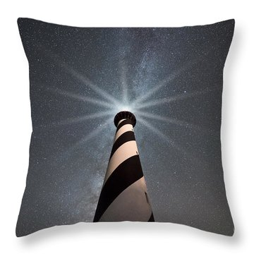 Cape Hatteras Lighthouse Under The Stars Throw Pillow