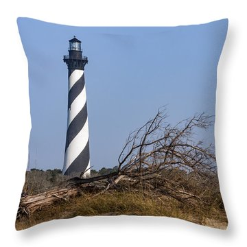 Cape Hatteras Lighthouse With Driftwood Throw Pillow
