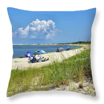 Throw Pillow featuring the photograph Cape Henlopen State Park - Beach Time by Brendan Reals