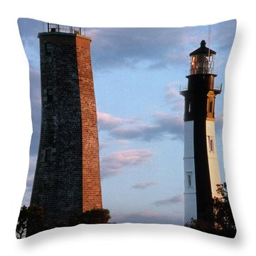 Cape Henry Lighthouses In Virginia Throw Pillow