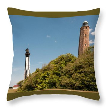 Cape Henry Lighthouses Old And New Throw Pillow