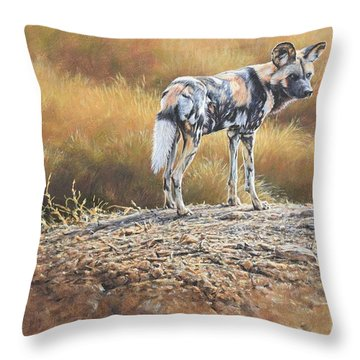 Throw Pillow featuring the painting Cape Hunting Dog by Alan M Hunt