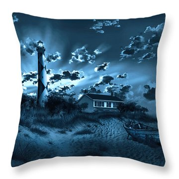 Cape Lookout Lighthouse 3 Throw Pillow