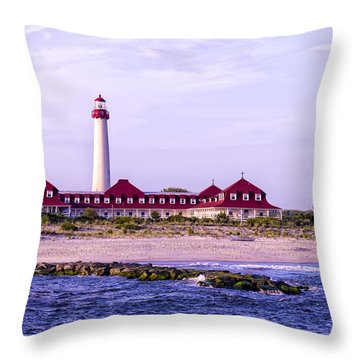 Throw Pillow featuring the photograph Cape May Light House by Linda Constant