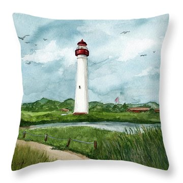 Throw Pillow featuring the painting Cape May Lighthouse by Nancy Patterson