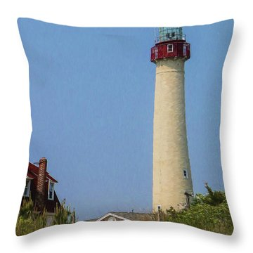 Cape May Lighthouse Vertical Throw Pillow